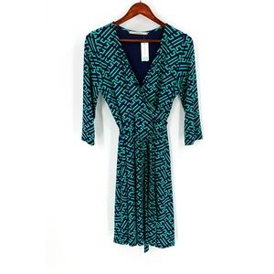 nwt | 41Hawthorn Blue & Green Faux Wrap Dress